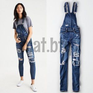 American Eagle Distressed Jegging Denim Overall
